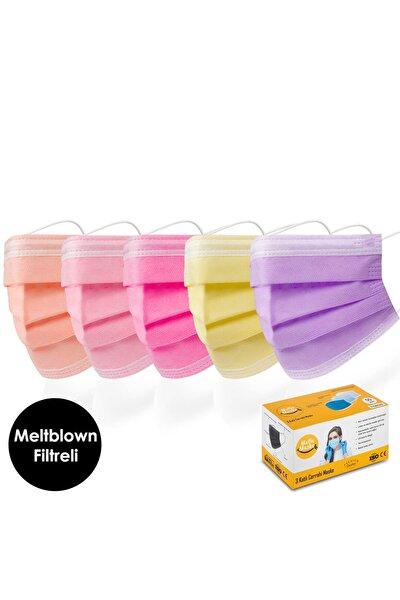 Meltblown Turuncu Pembe Sarı Mor Karışık Renkli Cerrahi Maske Seti 50'li ( 5 X 10 Renk )
