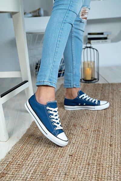 Unisex Mavi Günlük Rahat Keten Spor Ayakkabı