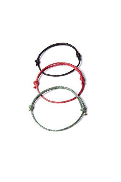 Kalın Ip - Siyah, Kırmızı, Yeşil 3lü Ayarlanabilir Bileklik
