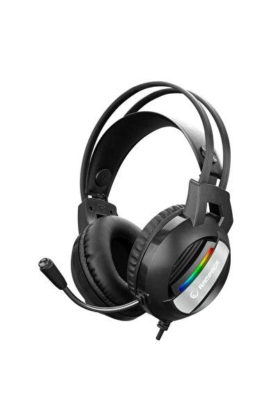 Rm-k71 Lıne Siyah 3,5mm + Usb Bağlantı Rainbow Aydınlatmalı Oyuncu Mikrofonlu Kulaklık