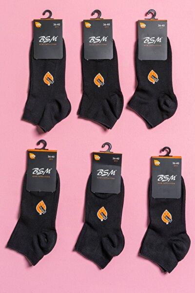 6'lı Kadın Siyah Modal Dikişsiz Patik Çorap
