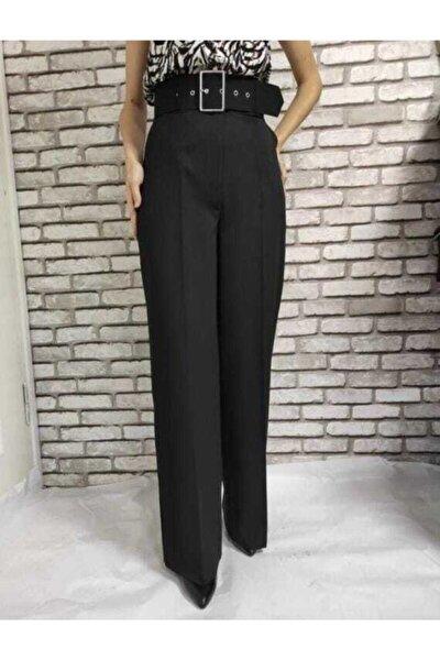 Kadın Siyah Bol Paça Kalın Kemerli Pantolon