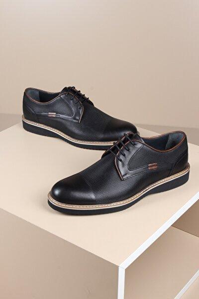 Erkek Siyah Hakiki Deri Klasik Günlük Ayakkabı