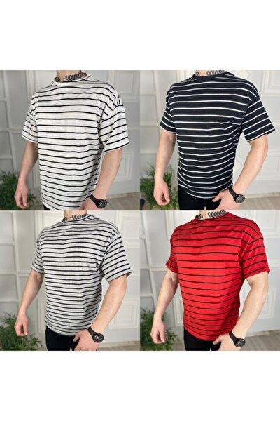 Erkek Çizgili Oversize Tişört 4 ' Lü Set
