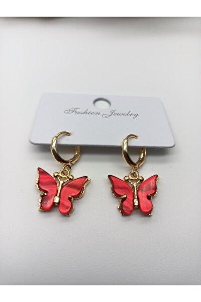 Gold Kırmızı Sedefli Kelebek Küpe