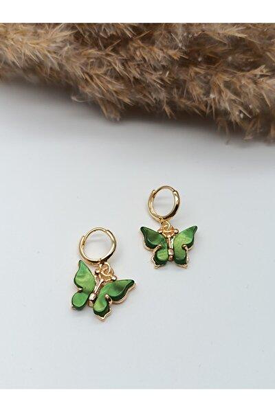 Gold Yeşil Sedefli Kelebek Küpe