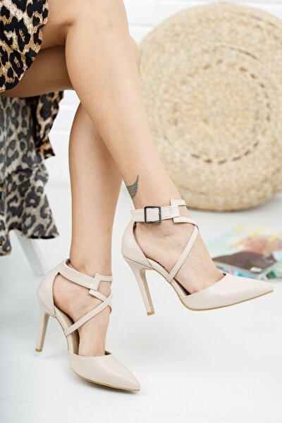 Nude Deri Cilt Kadın Topuklu Ayakkabı Stiletto