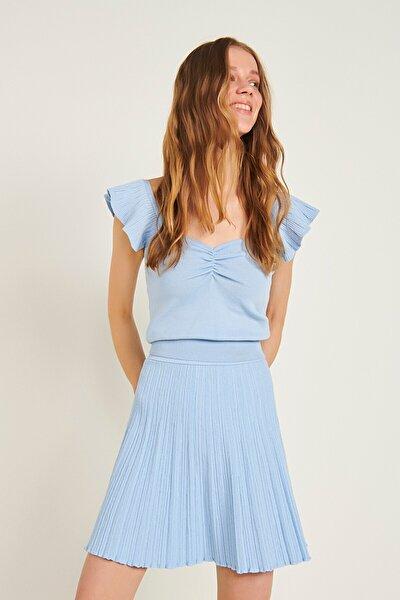 Büzgü Detaylı Kolları Fırfrılı Triko Bluz-açık Mavi