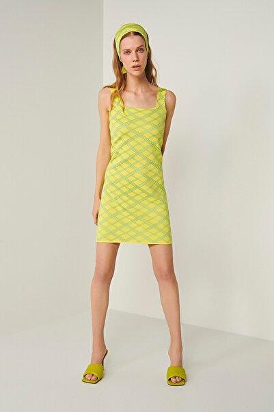 Neon Askılı Triko Elbise-sarı