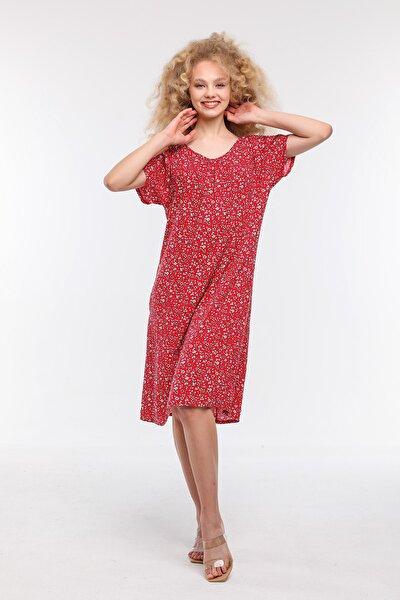Kadın  Kırmızı Rahat Kesim Çiçekli Viskon Elbise