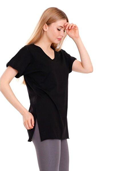 Kadın Siyah Basic Yırtmaçlı Oversize Tshirt