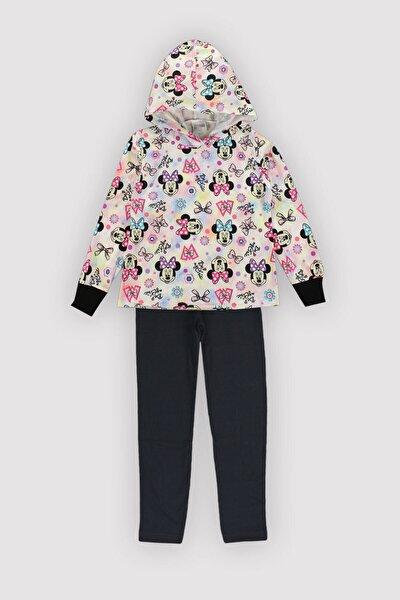 4 Mevsim Kız Çocuk Likralı Kapşonlu Polyester Pamuk Karışım Mouse Ince Siyahtaytlı Takım 12349