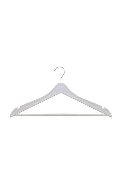 24 Adet Elbise Askısı Ahşap Görünümlü Plastik - Beyaz