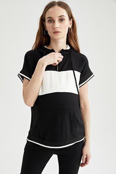 Kadın Hamile Renk Bloklu Kapüşonlu Kısa Kollu Tişört U4983AZ21SP