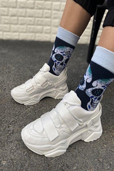 Kadın Beyaz Cırtlı Sneakers Ayakkabı