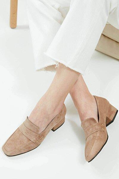 Camilla Hakiki Süet Vizon Kısa Topuklu Ayakkabı