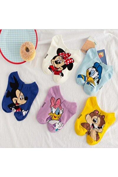 5 Çift Sevimli Çok Renkli Karikatür Desenli Kadın Patik Çorap