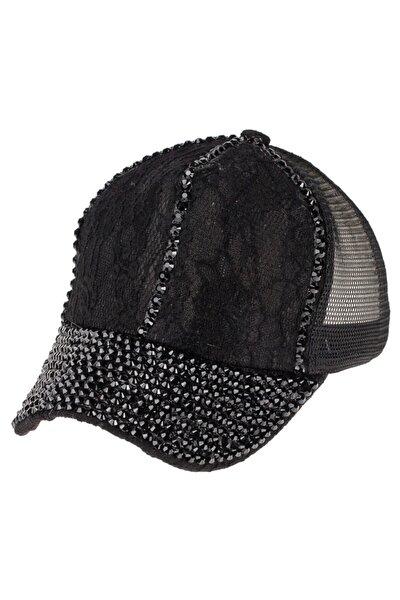 Kadın  Taşlı Fileli Şapka