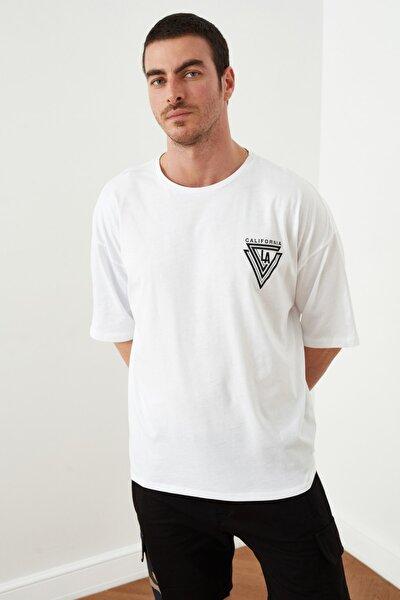 Beyaz Erkek Oversize Fit Baskılı  T-Shirt TMNSS20TS1102