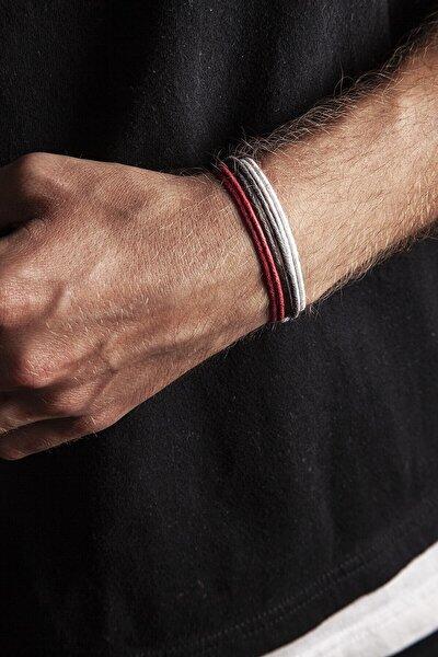 3lü Kalın Ayarlanabilir Ip Bileklik - Kırmızı, Gri, Beyaz
