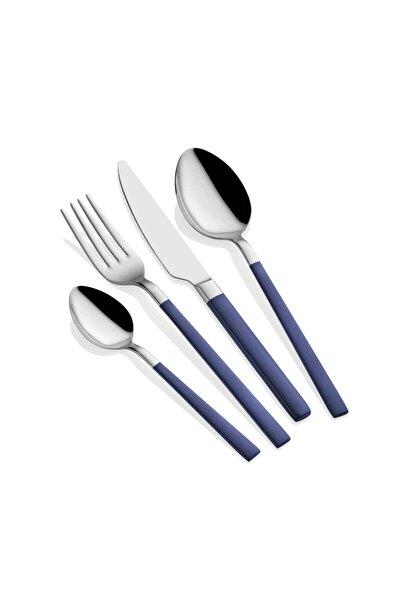 Parlak Gümüş Lacivert Çatal Kaşık Bıçak Seti 24 Parça