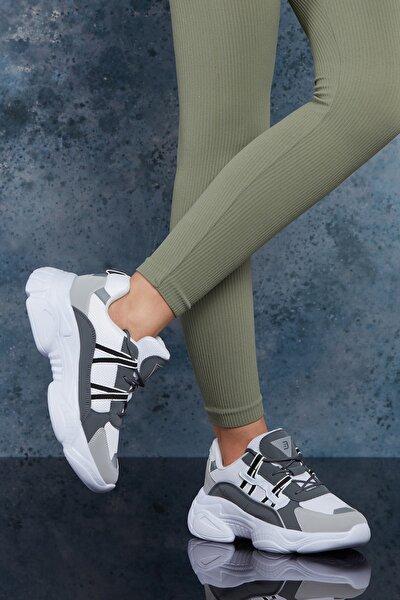 Beyaz Füme Kadın Sneaker