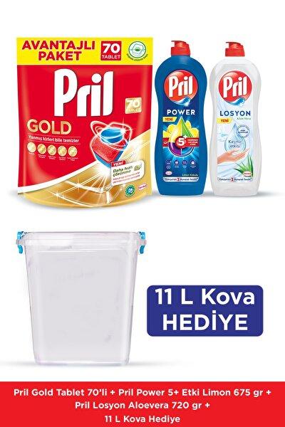 Gold 70 Yıkama Bulaşık Makinesi Deterjanı + Elde Yıkama 675g Limon + 769g Losyon + 11L Kova Hediye
