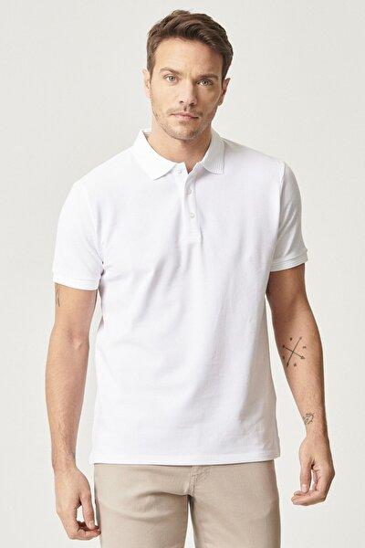 2 Al Sepette Ek %20 İndirim Beyaz Polo Yaka Cepsiz Slim Fit Dar Kesim %100 Koton Düz Tişört
