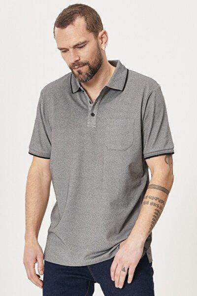 Erkek Siyah Polo Yaka Cepli Regular Fit Bol Kesim Düz Tişört
