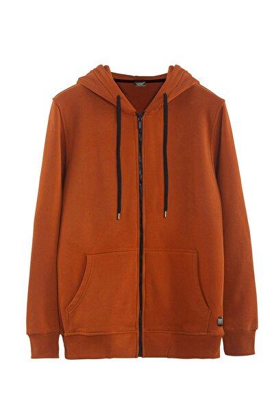 Erkek Basic Kapüşonlu Fermuarlı Cepli Spor Sweatshirt