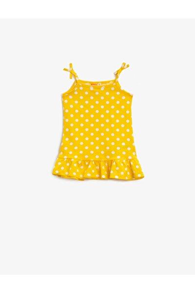 Kız Bebek Sarı Puantiyeli Askılı Pamuklu Elbise