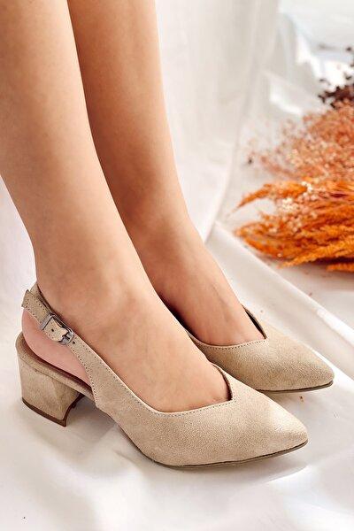 Kadın Bej Süet Nilla Topuklu Ayakkabı