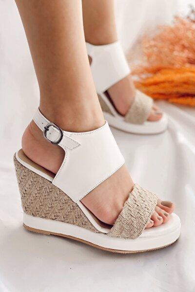 Kadın Beyaz Cilt Gone Hasır Dolgu Topuk Sandalet