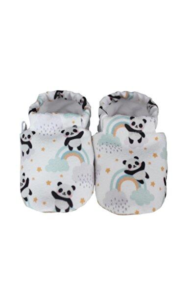 Bebek Beyaz Pandalı Gökkuşağı Model Kaydırmaz Patik