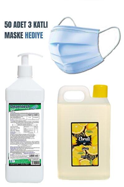 Dezentech El Temizleme Sıvısı 1 LT&Ebruli Limon Kolonyası 1 LT&HEDİYE Medikal Maske 50 Adet