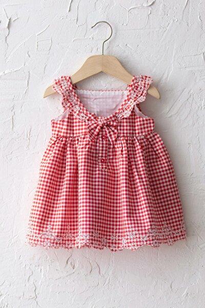 Kız Bebek Kırmızı Ekoseli Lpa Elbise