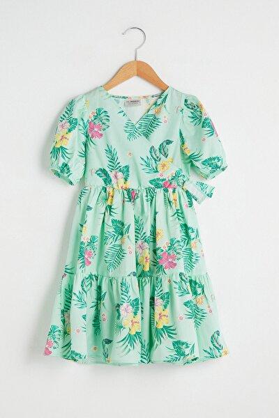 Kız Çocuk Nane Yeşili Bask Lrl Elbise