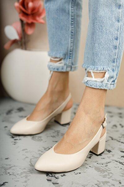 Kadın Krem Topuklu Ayakkabı Gzhw711