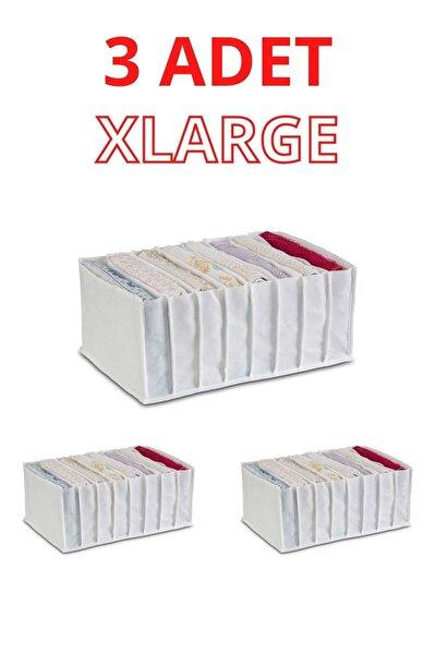 3 Adet Xlarge Organizer Cepli Dolap Içi Ve Çekmece Düzenleyici Akordiyon Beyaz