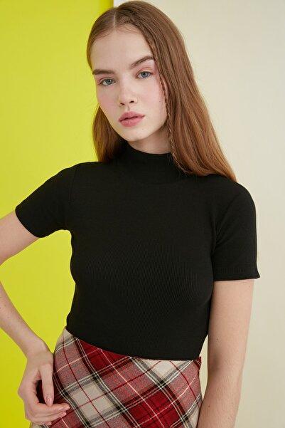 Siyah Crop Örme Bluz TWOSS21BZ0780