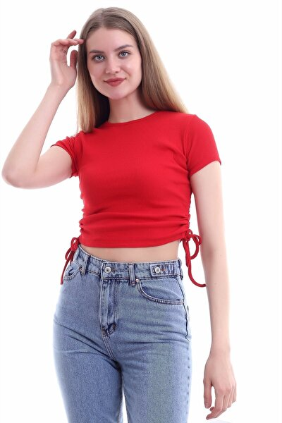 Kadın Kırmızı Sıfır Yaka Ipli Yanları Büzgülü Fitilli Bluz