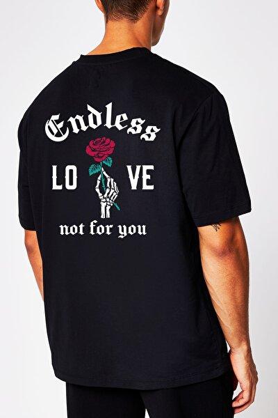 Endless Love Not For You Erkek Siyah Önü Ve Arkası Baskılı Kısa Kollu Oversize Tişört