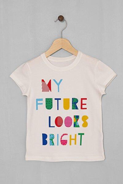 Kız Çocuk Ekru My Future Baskılı T-shirt