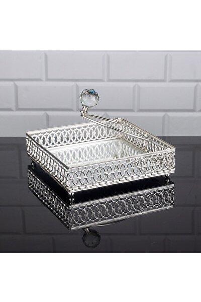 Lulu Kare Peçetelik Taşlı Peçetelik 18x18 Cm Gümüş Aynalı Peçetelik