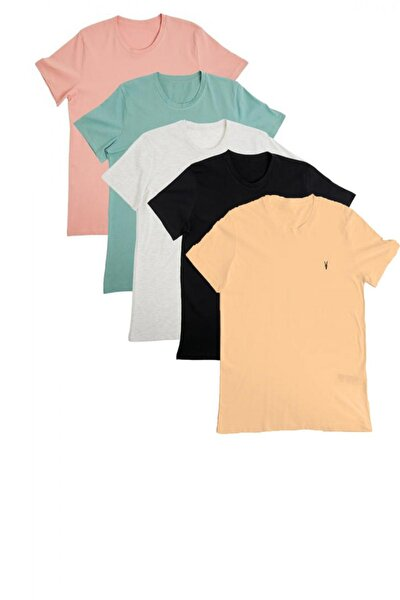Erkek Slim Fit Basic T-shirt 5'li
