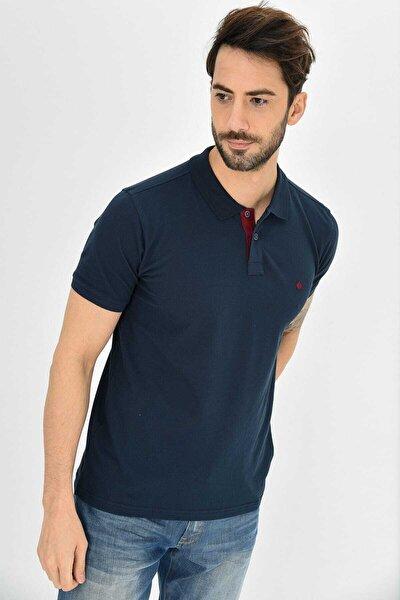 Erkek Lacivert Polo Yaka Likralı T-shirt T621