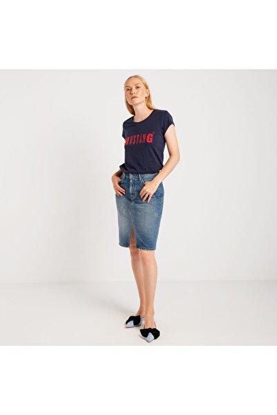 Kadın Basic Baskılı T-shirt Lacivert