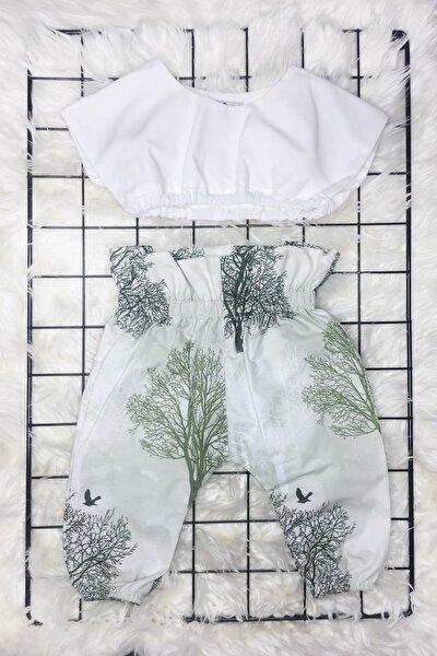 Kız Bebek Beyaz Ağaç Desenli Pantolon Crop