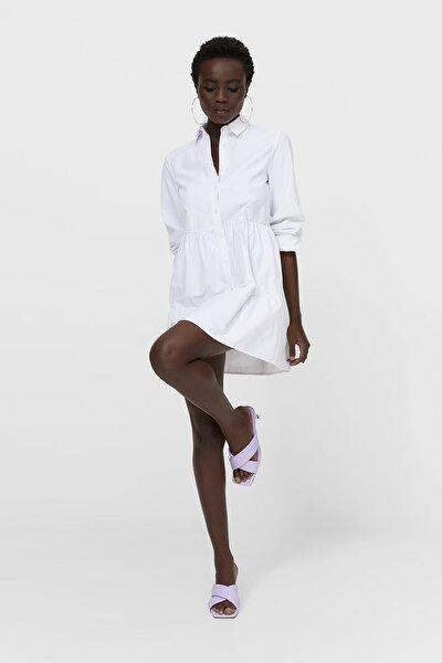 Kadın Beyaz Poplin Gömlek Elbise 02370502
