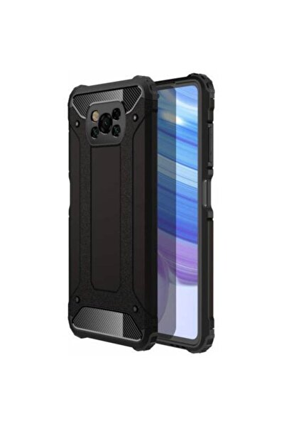 Xiaomi Poco X3 Nfc Kılıf Ultra Üstün Koruma Çift Katman Zırh Kapak - Siyah